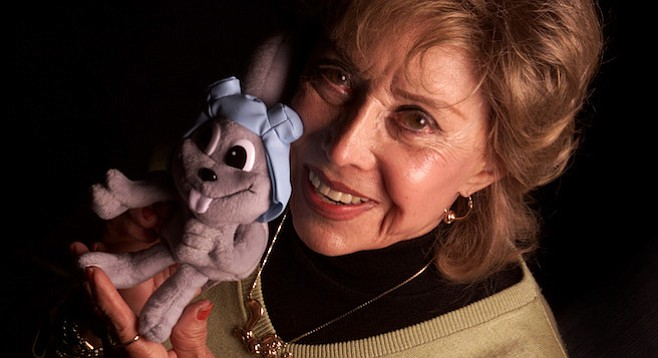 June Foray and one of her most popular characters, Rocket J. Squirrel
