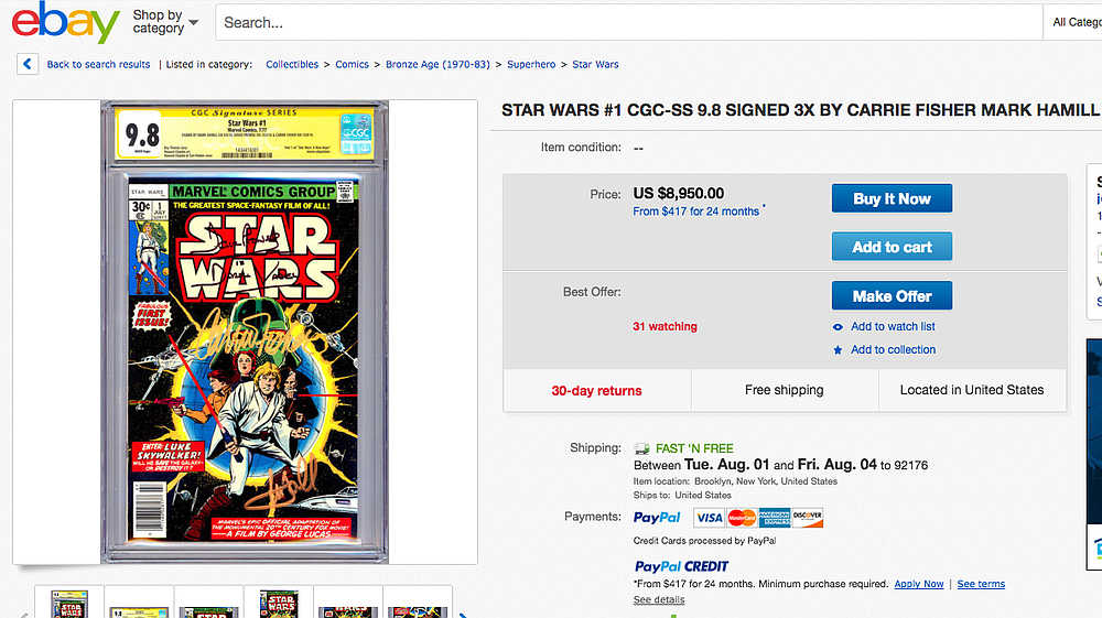 Hamill was witnessed signing items — free of charge.
