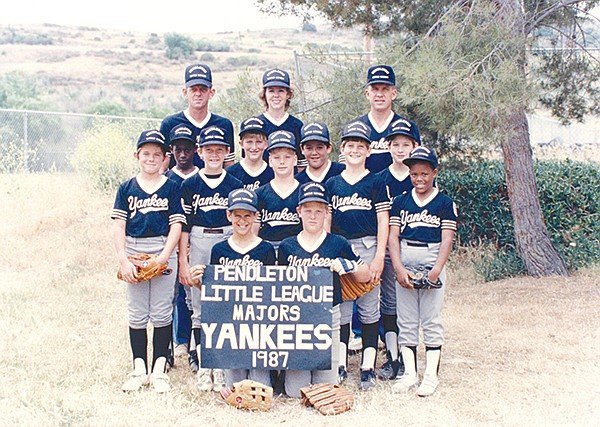 Author Ian Anderson's Little League baseball team (Anderson on far right, below adult).