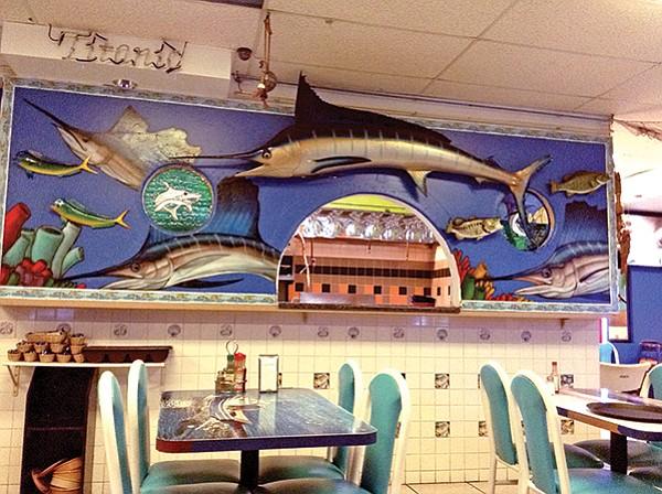Real swordfish frames kitchen.