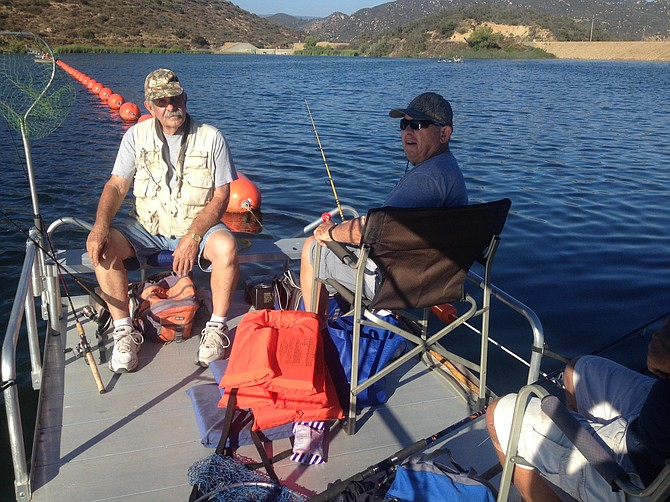 Vista's John Testor and Escondido's Dave Gehrke enjoyed Dixon's new pontoon boat.