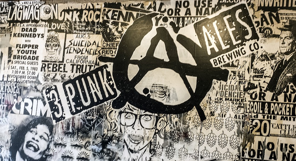 A collage decorates the wall of Thr3e Punk Ales' Chula Vista brewery and tasting room.