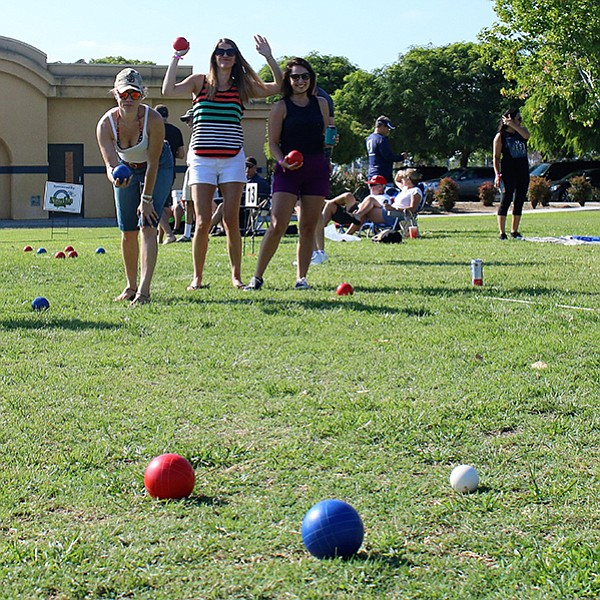 Round-robin bocce tournament play at Qualcomm