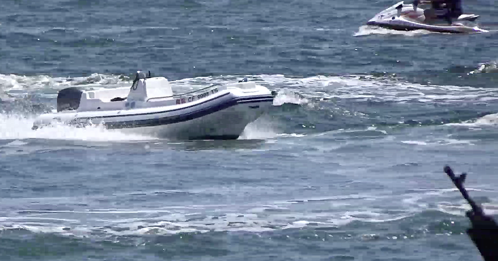 Unmanned boat continued to run around the bay (see video).