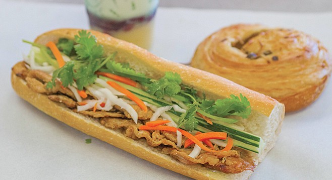 Bánh mì at Paris Bakery. Ten-inch baguettes emerge from a walk-in oven.