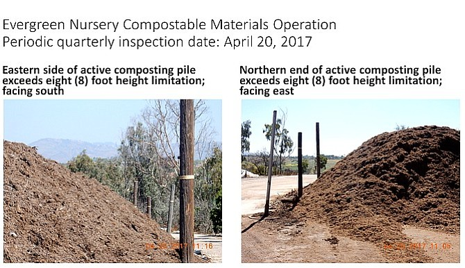 April 2017 inspection photos showed compost piles exceeding the eight-foot limit.