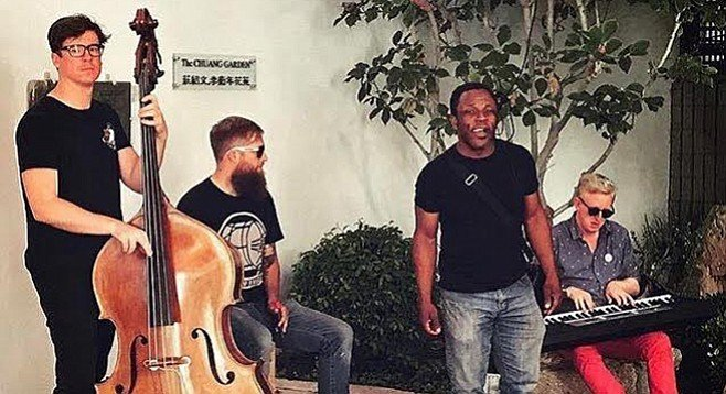 Leonard Patton and fellow record-breakers (themattsmithneujazztrio) at the Chuang Garden, outside downtown's San Diego Chinese Historical Museum