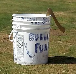 Boomerang in Saccone's bucket.  Lifeguards will ask him to take it somewhere less crowded.