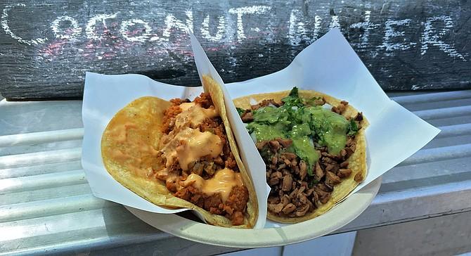 "A ""marlin"" and ""carne asada"" taco — both vegan."