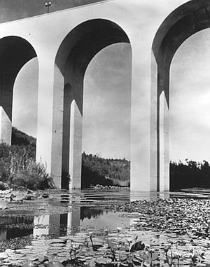 In 1915 a lagoon was below the bridge where now the canyon and freeway are.