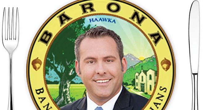 Adam Gray scarfed a meal valued at $160, courtesy of Barona.