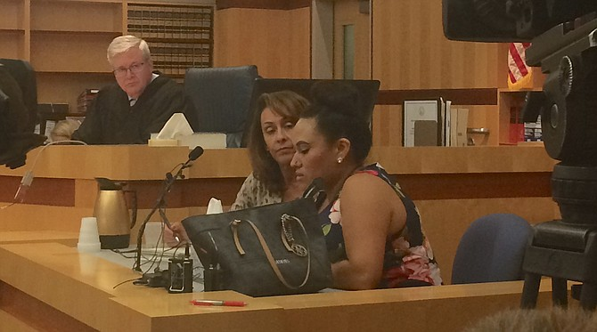 Judge Dahlquist, the interpreter, and Maria Morales Juares in court yesterday (August 23).