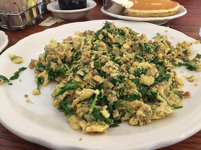The Ever Popular Joe, a sausage/spinach scramble
