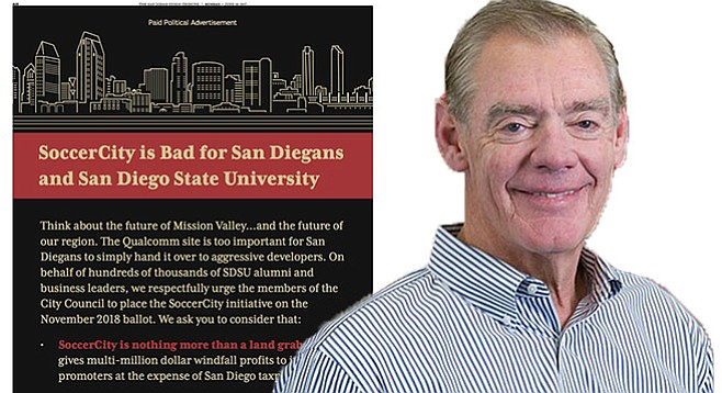 Jack McGrory has helped put up thousands of dollars for ads in the U-T badmouthing the SoccerCity proposal.