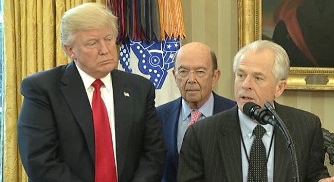 "Nobody is yet writing off Navarro, described as ""a one-man, anti-China trade warrior."" (Image: Trump, Wilbur Ross, Peter Navarro)"