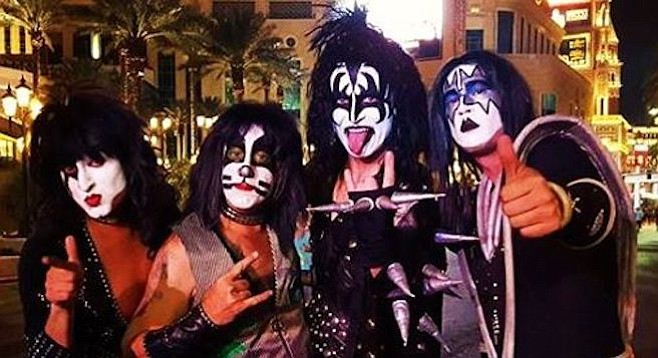 Though he cut out his drum solo, Peter Criss impersonator Jason Lee (2nd from left) finished the early August show during which he had his third heart attack.