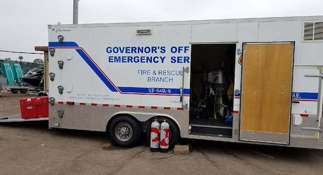 Office of Emergency Services truck was unloaded so SD firefighters could take the equipment to Houston.