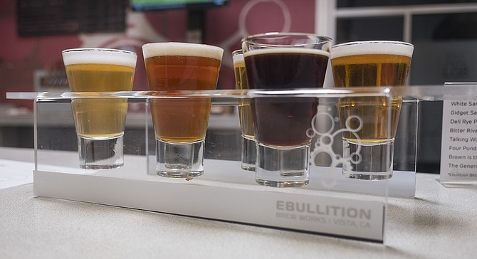 Nine beers and counting during the soft open of Ebullition Brew Works.