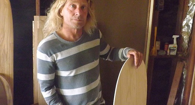 "Wegener uses paulownia wood because ""its density makes the boards waterproof."""