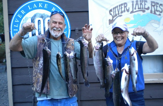 Gary and Casey Mattingly of Spring Valley landed these nice Rainbows fishing from the shore of Silver Lake using Night Crawlers and Mice Tails