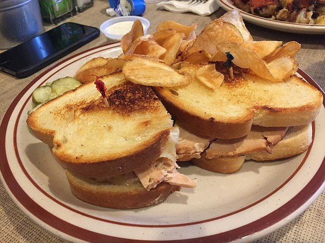 This spicy turkey melt at Mama Kat's, with crispy housemade chips, was a crowd pleaser — everyone wanted another bite.