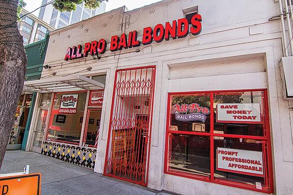 "One of a few shops along ""Bail Bond Boulevard,"" downtown San Diego"