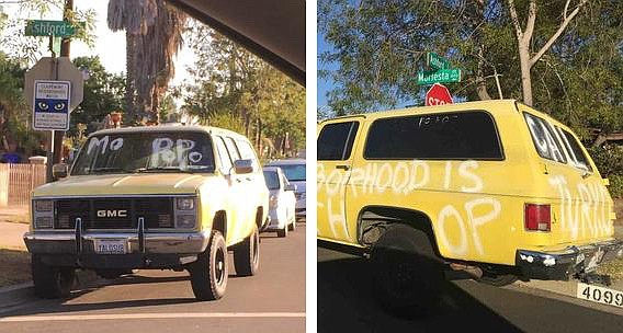 Somebody vandalized this SUV in seemingly a cry for help