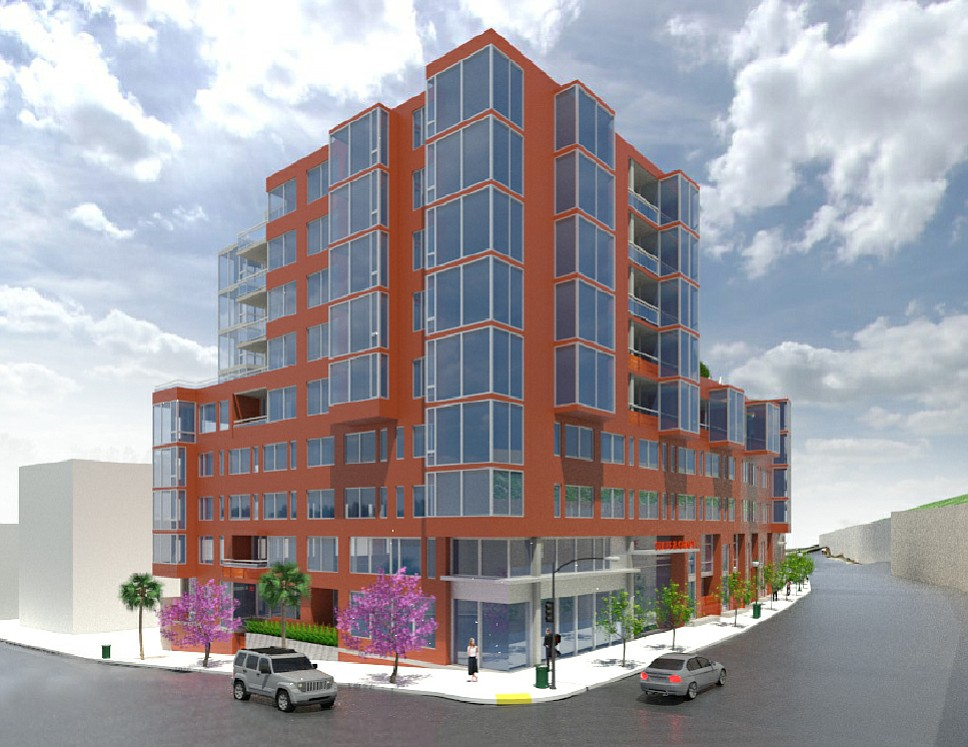 The hotel/residential building planned for corner of State and Grape streets