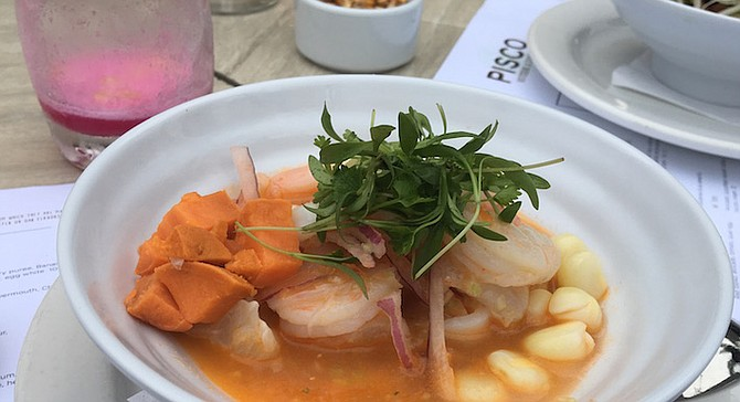 Mixto, a spicy ceviche made with rocoto peppers, calamari, shrimp, and fish.