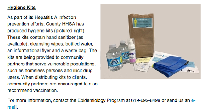 Items in the county-issued hygiene kit, of which approximately 2400 have been distributed