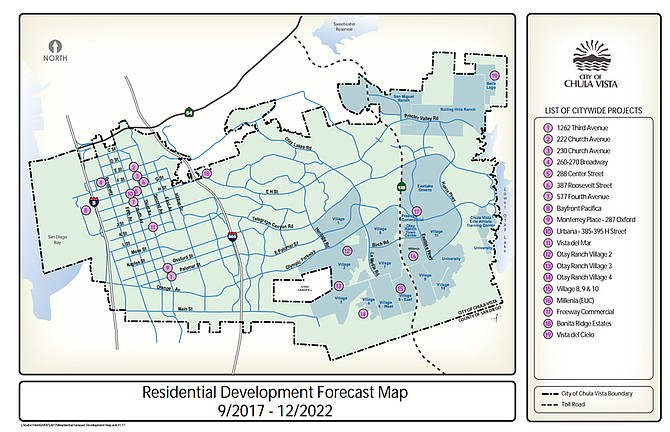 Chula Vista's 2017 residential growth forecast (darker blue indicates neighborhoods in development phase)