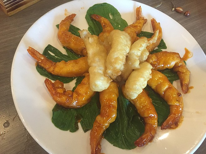 Twin Dragons — sweet and sour shrimp and calamari