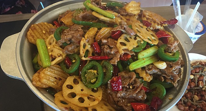 Beef Dry Pot — each item is cooked one at a time in a dry pot — no oil.