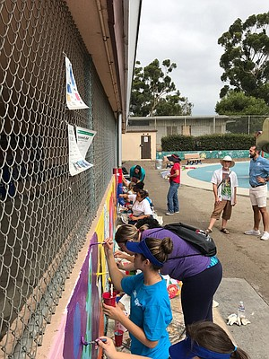 Volunteers painting a mural behind Golden Hill Recreation Center