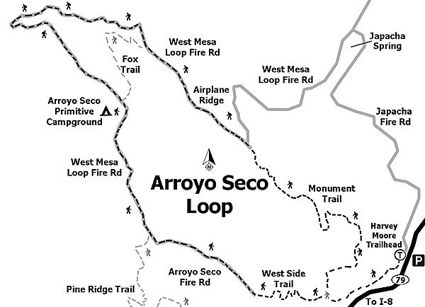 The Arroyo Seco Trail junction is the highest point of the loop.