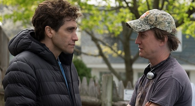 Jake Gyllenhaal and director David Gordon Green on the set of Stronger.