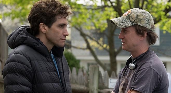 Jake Gyllenhaal and director David Gordon Green on the set of Stronger.