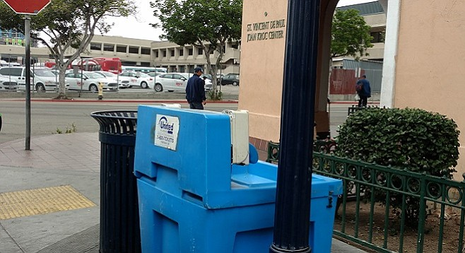 One of several hand-washing stations installed in areas frequented by the downtown homeless population