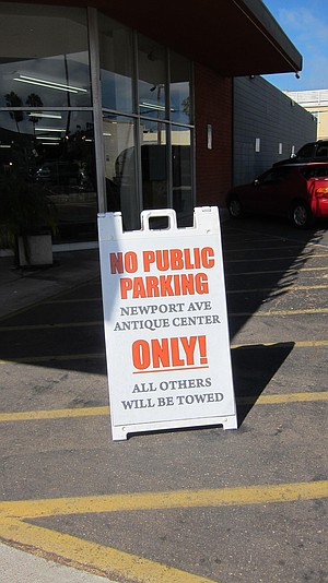 Outside the Antique Mall — what shared parking agreement?