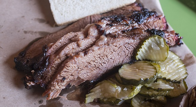 Char and fat add welcome flavor and texture to this smoked brisket