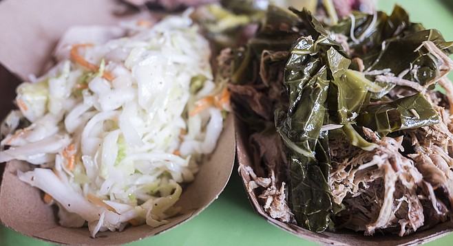Bland coleslaw and pork-heavy collard greens