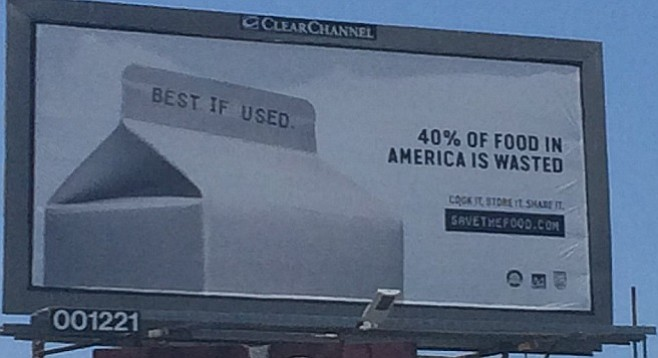 A Save the Food billboard in Pacific Beach