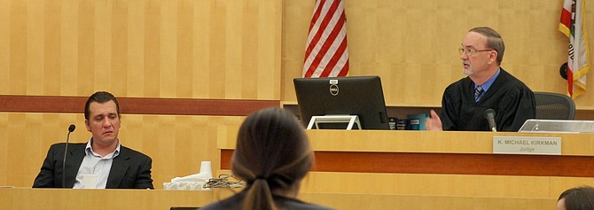 Strouth in the witness box, Hon. judge Kirkman presides in San Diego's North County Superior Courthouse.