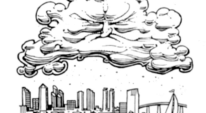 You're seeing the shadowed underside of the cloudbank.