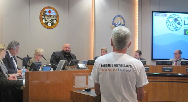 Ferret fan Pat Wright speaks to the city council