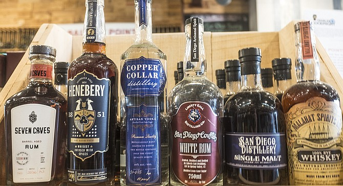 Bottles of San Diego–produced spirits for sale at K&B Wine Cellars