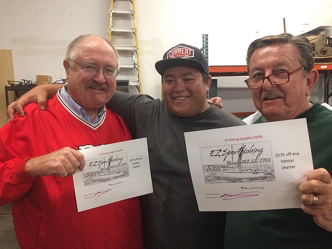 Murrieta's Larry Cusack and Carlsbad's Lynn Howell, with the captain of EZ Sportfishing out of Huntington Beach. The guys won lobster trips at a recent Oceanside bug catchin' seminar.