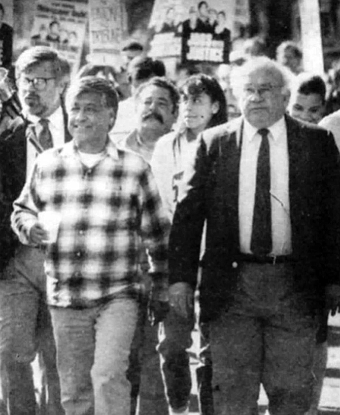 Union chief Cesar Chavez and TV star Ed Asner marched on the newspaper's Mission Valley headquarters in February 1990.