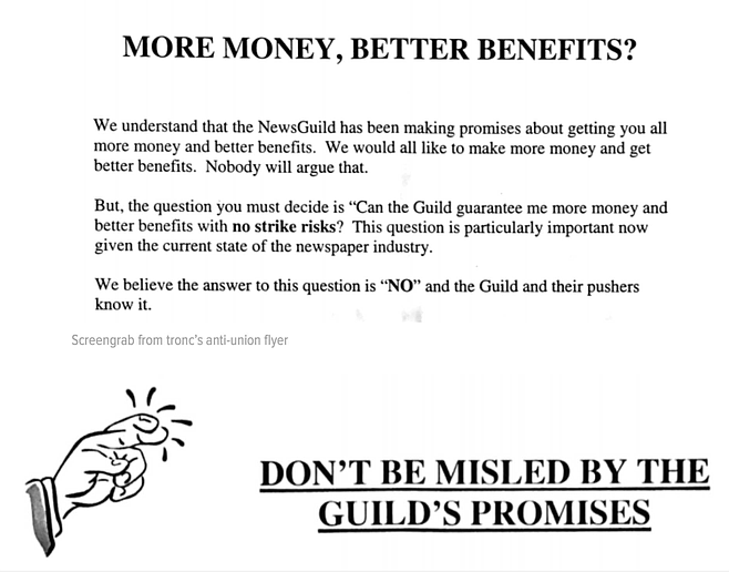 Screen grab from tronc flier