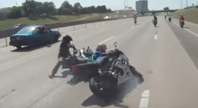 A freeway stunt going wrong